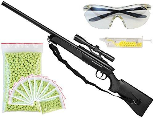 XXL Set Swiss Arms Black Eagle M6 Sniper Gewehr Softair schwarz inkl. 5000 Kugeln und Schutzbrille Tragegurt Speedloader Ziel-Fern-Rohr Airsoft-waffe Aoft-Air Munition unter 0,5 Joule ab 14 Jahre Kinder-Spielzeug Kinder-Gewehr (Sniper Set)