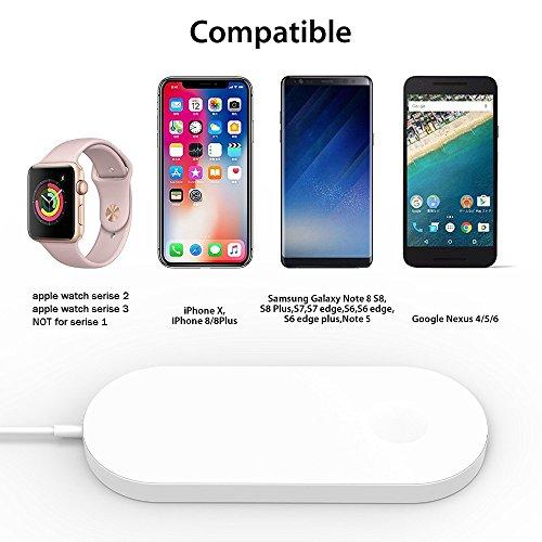 Aidsci caricabatterie wireless 2in 1base di ricarica per apple iwatch series 3/2/1e iphone x/8/8plus, compatibile con tutti i dispositivi habilitados qi, bianco