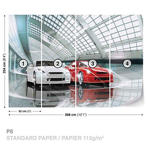FORWALL DekoShop Fototapete Tapete Luxuriöse Autos Ausstellung AD1926P8 (368cm x 254cm) Photo Wallpaper Mural