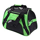 Pet Travel Carrier,Foldable Dog Handbag,Soft-Sided Mesh Breathable Lightweight Luxury Folding Airplane Bag For Small Dogs,Colors To Choose,Green,L