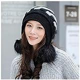 Hut Weibliche Winter Dicke Koreanische Version der Gezeiten Mode Wilde Warme Ohrenschützer Herbst Und Winter Modelle Süße Niedliche Warme Mütze (Color : Black)