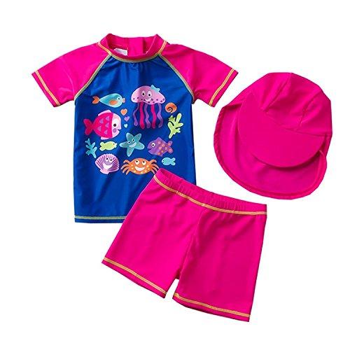 Kinder Mädchen 2-teiliges Badeanzug Bademode Set UV Schützend SchwimmanzugBadebeKleidung mit Badekappen UPF 50+ (18-24 Monate)