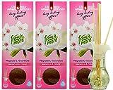 3x Fresh & More Duftvase [ Magnolie & Kirschblüte ] Lufterfrischer Raumduft mit natürlichen Duftstäbchen - 35ml