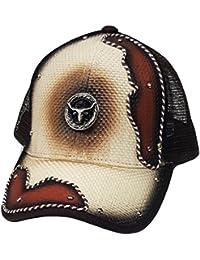 Modestone Western Baseball Cap Metal Longhorn Bull Beige
