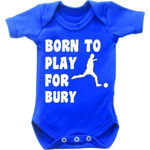 Born To Play Football For Bury Short Sleeved Baby Bodysuit Romper Vest Grow In Royal Blue & White Motif