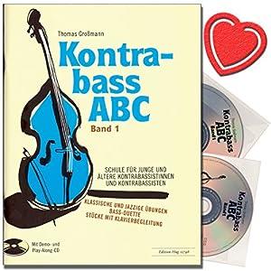 Contrabbasso ABC Band 1–Contrabbasso Scuola con 2CDS–Scuola per Giovani e anziani kontra bassistinnen e contrabbassisti–con colorato herzfoermiger Note KLAMMER