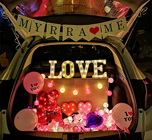 Hlidpu LED Letters Lights und Rosen-Teddybär mit Lichterketten Batterie für Partyhochzeit Geburtstagsdekoration Licht