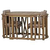 Siena Garden Balkonmöbelset Alvena, cm, Akazienholz, geölt in natur, FSC 100%, Kissenbezug aus Polyester in taupe