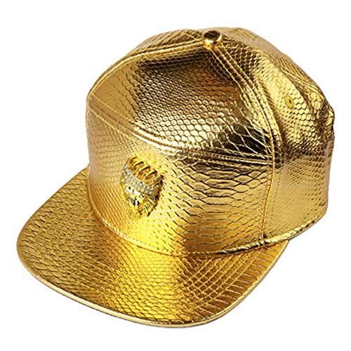 MCSAYS hip hop Gold Crown löwenkopf mit Strass pu Leder Sport caps Baseballkappe/Hut Mann (Gold) - Crown Cap Hüte