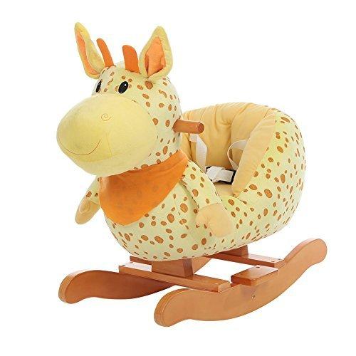 Labebe cavallo dondolo legno, peluche dondolo bambini di giraffa gialla per 6-36 mesi, giochi cavalcabili bambini/sedia dondolo bambini/dondolo neonati/cavallo dondolo peluche