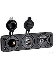 Voltmetro digitale, presa corrente e USB doppia