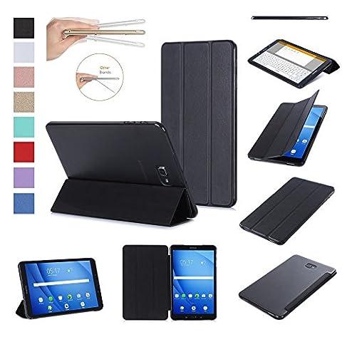 ISIN Housse pour Tablette Série Premium PU Cuir Smart Coque Étui pour Samsung Galaxy Tab A 10.1 SM-T580N T585N Android 6.0 Marshmallow Tablet (Noir)