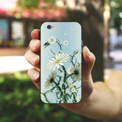 Apple iPhone 5s Housse Étui Protection Coque Fleurs Fleurs Vrilles Housse en silicone noir / blanc