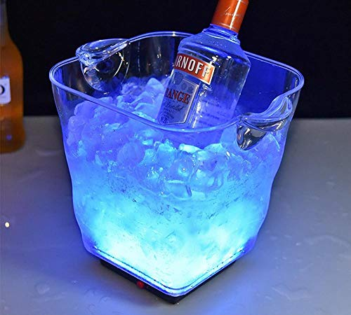 Velliceasay Rechargeable LED Light Ice Bucket Transparent Colorful Wine Acrylic Champagne Bar Home Wine Barrel, Perfect for Party, Ice Bucket Champagne and Beer Cooler, Blu-ray - Light Material Bucket