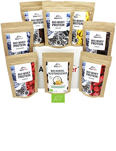ALPENPOWER | BIO WHEY Protein Probierbox- 7 Sorten (7 x 65g) | Inkl. Bio-Kokosblütenzucker (1 x 100 g) | Ohne Zusatzstoffe | 100% natürliche Zutaten | Bio-Milch aus Bayern und Österreich | Superfoods