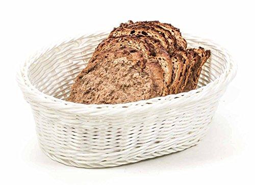 Preisvergleich Produktbild Brotkorb, Brötchenkorb, Korb Kunststoffgeflecht, ovale Form, lieferbar in den Farben Schwarz, Weiß oder Grau (Weiß)