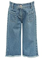 M&Co Girls Kite And Cosmic 100% Cotton Light Wash Denim Adjustable Waistband Frayed Hem Culottes Denim 11/12 Yr