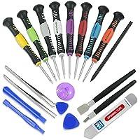 MMOBIEL® Set d'outils professionel Universel 20 pièces pour la réparation de dispositifs Mobiles: spudgers, pincettes, Couteau de modélisme, racleur, Ventouse en PVC et Jeu de Tournevis