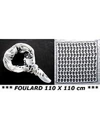 Fashion Only - Foulard Cheche Echarpe Tete de Mort - Coloris Noir et Blanc - Tendance Fashion Mixte - 160 cm x 50 cm