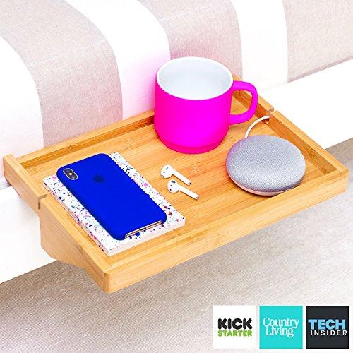 Bedshelfie - mensola moderna in legno di bambù, ripostiglio spazioso, comodino galleggiante regolabile per le piccole camere da letto, letti a castello con loop e dormitori contemporanei (naturali)