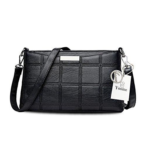 Yoome Waffel Muster Retro große Kapazität Vintage Taschen für Frauen Crossbody Umschlag Tasche - Champagner Schwarz