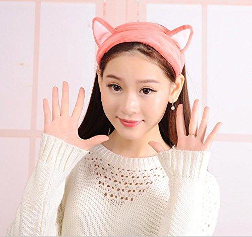 Katze Ohr Cute Damen Stirnband Coral, Bad Dusche Cap Waschen Face Make-up Beauty Sports Haar Zubehör rose (Cap-haar-dampfer)