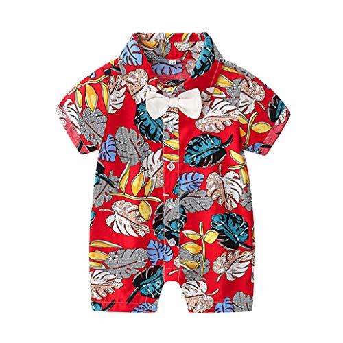 uit Infant Baby Boys Strampler Kinder Drucken Baumwolle Overall Kurzarm Kleidung Sommer Outfits Set Hawaii-Serie(rot,70CM) ()