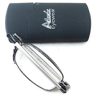 Atlantic Eyewear AE0037 Faltbar Lesebrille Gunmetalgrau für Damen und Herren (+2.0)