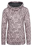 Sublevel Damen Sweathoodie mit Allover-Blumen-Print und weichen Innenfleece | Sportlich-Eleganter Kapuzenpullover Light-Rose XL