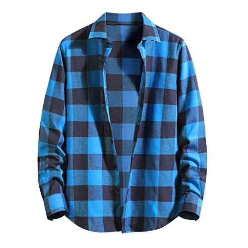 BHYDRY Lose beiläufige tägliche Plaid-Lange Hülsen-Hemd der Herbst-Männer (Medium,Blau) -