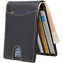 WinCret Billetera Hombre Cartera Delgada con Bolsillo para Monedas y 6 Ranuras para Tarjetas - Protección
