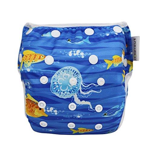 Sijueam Schwimmwindel Waschbar Mehrwegwindeln Baby Diapers Wasserdicht Windelhosen Unisex Einheitsgröße Einstellbar Badeshorts Leakproof Wassersport Bademode - Deep Sea Fish