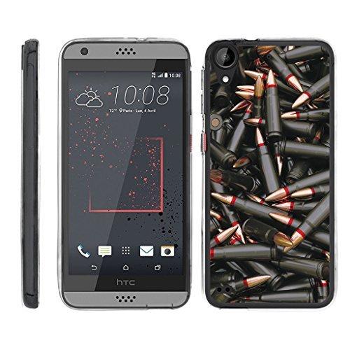 turtlearmor | Kompatibel für HTC Desire 530Fall | Desire 630| Desire 550[Flexible Armor] Slim Fit Flexible TPU Hülle Case Klar Bumper Cover Militär Armee Camo Design -, Black Bullets (Htc Desire Virgin Mobile Fall)
