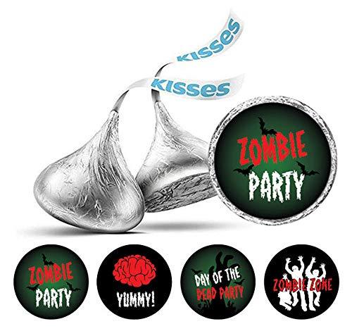 Darling Souvenir Zombie-Party-Thema-Aufkleber 190 Pcs Hershey Kisses Schokolade Labels-Green & Black
