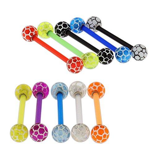 10 Stück Packung UV-Fußball-Ball mit 16MM Länge - 14 Gauge Bioplast Flexible Straight Barbell Zunge Bar Piercing