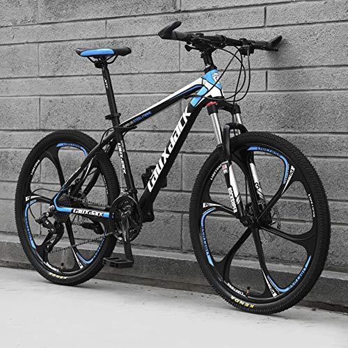 AP.DISHU 6 Speichenräder Mountainbikes Hydraulische Doppelscheibenbremse Mountainbike Männliche und weibliche Studenten Rennrad 24-Zoll-Rad MTB,Black & Blue,21 Speed