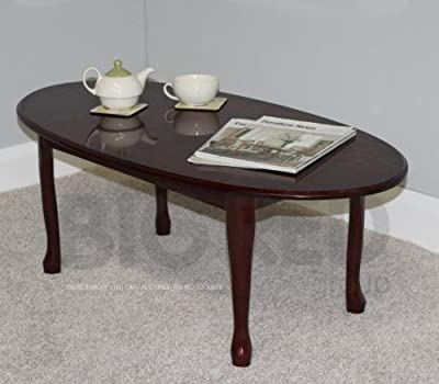 Traditional Queen Anne Oval Coffee Table - Mahogany Finish
