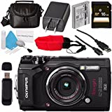 Olympus Tough TG-5 Digital Camera (Black) V104190BU000 + 16GB SDHC Card + Deluxe Cleaning Kit + Small Soft Carrying Case + Camera Floating Strap + Card Reader Bundle