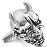 MunkiMix 2 PCS Rhodium Plated Cufflinks Silver Tone Black Devil Skull Gothic Shirt Wedding Business 1 Pair Set Men
