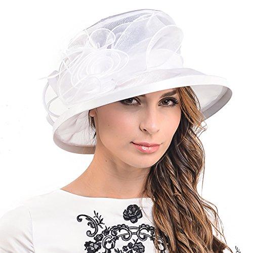 Damen Derby Kleid Kirchen Hochzeit Fest Sonnenhüte S043 (Weiße Satin Derby Hat)