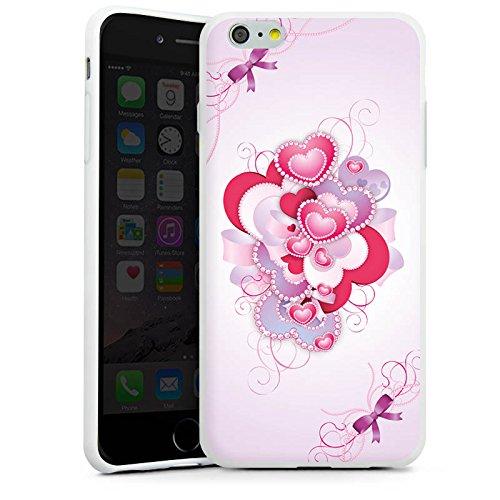 Apple iPhone X Silikon Hülle Case Schutzhülle Herz Luxus Love Muster Silikon Case weiß