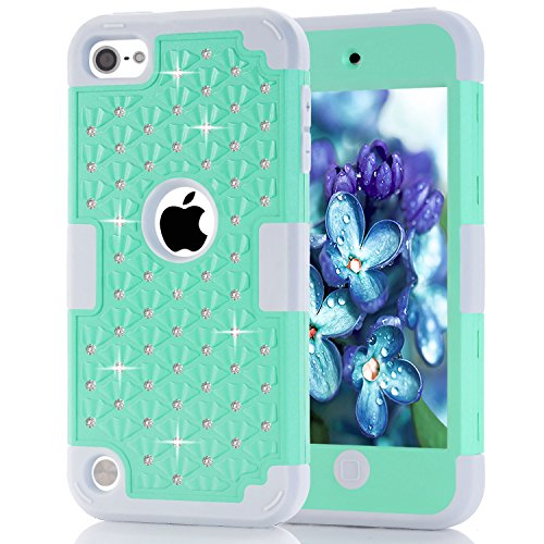 iPod Touch 6 Hülle, iPod Touch 5, TOPBIN [Shiny Bling] & [Diamond] 3 in 1 Heavy Duty Shockproof Hard PC und Soft Silikon Schutzhülle Cover für iPod Touch 5./6. Generation, Aqua+Grey -