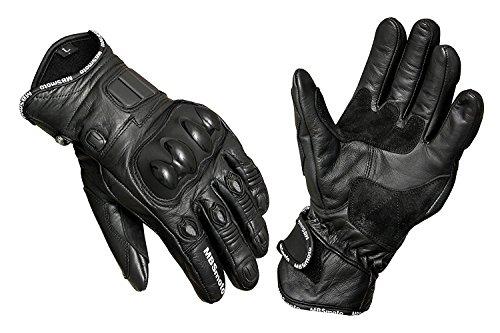 Mbsmoto bici sport Cruiser di guanti in pelle, Black