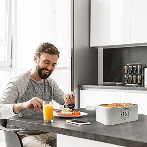 GranRosi Panera–Pan de Metal compacta Caja para Guardar el Pan en 40años Retro Diseño, Metal, Cream White