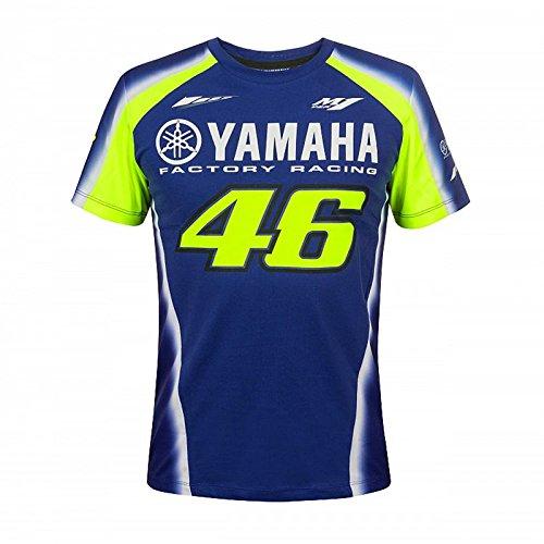 VR46 Valentino Rossi 46 Yamaha Rennsport T-Shirt Herren - Blau/Gelb - Blau, Gelb, XXL (Blau-polyester-mischung)