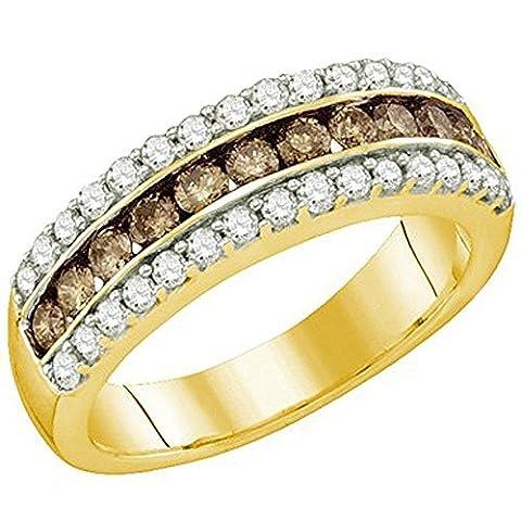 Bague Femme 10 ct Or Jaune Diamants 0.98 ct Rond Blanc & Cognac Diamants 1 ct