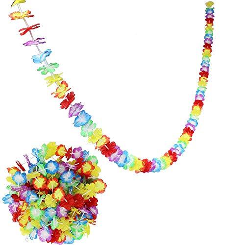 Gestalten Kostüm Ihr Sie Eigenes - KayMayn 3M Hawaiian Multi-Colored Lei Blumengirlande, Seidenblumen, Abendkleid-Set, für Party-Abendkleid und Tropical Beach Erwachsene oder Kinder unisex Style 1