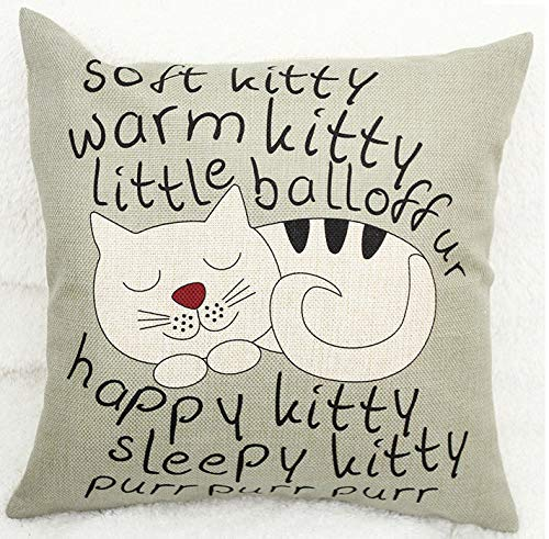 Sleeping Kitty Cat Nursery Rhyme Lullaby Soft Kitty warm Kitty Little Ball of fur Square Linen Cushion Pillow Cover