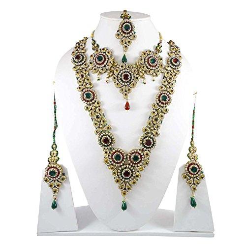 Belle Mariée Mariage Serti De Pierres Cz Bollywood Collier Bijoux Ensemble Cadeau Pour Les Femmes Rouge
