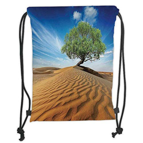 Natur Life Super Green (LULUZXOA Gym Bag Printed Drawstring Sack Backpacks Bags,Tree of Life,Tree in The Desert on Sand Dune Dry But Alive Nature Habitat Life Photo,Blue Cream Green Soft Satinr)
